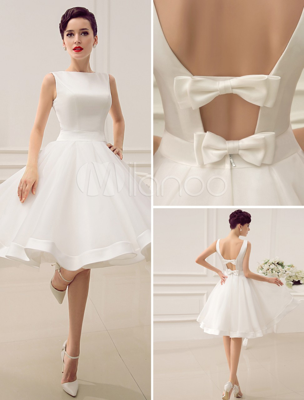 Knee-Length-Ivory-Cut-Out-Wedding-Dress-For-Bride-With-Bow-Decor-466429-2308641